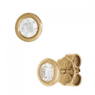 Ohrstecker rund 585 Gold Gelbgold 2 Diamanten Brillanten 0, 10ct. Ohrringe