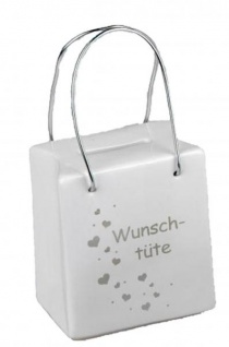 Trendige Spardose Tasche mit Spruch Wundertüte und Henkel 8 x 9 cm