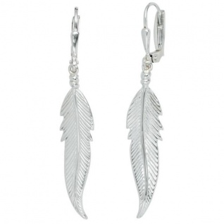 Boutons Feder 925 Sterling Silber Ohrringe Ohrhänger