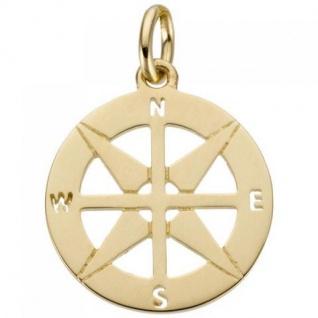Anhänger Kompass 585 Gold Gelbgold