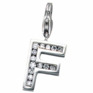 Einhänger Charm Buchstabe F 925 Sterling Silber mit Zirkonia