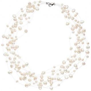 Collier Statement Perlenkette 10-reihig mit Süßwasser Perlen 45 cm