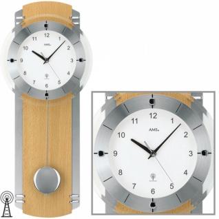 AMS 5245/18 Wanduhr Funk mit Pendel silbern Holz Buche Pendeluhr