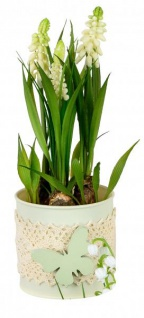 Künstlich blühende Hyazinthen im Topf Deko-Pflanze grün weiß 20 cm