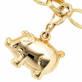 Einhänger Charm Schweinchen Schwein 333 Gelbgold Glücksbringer