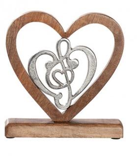 modernes Wohnaccessoire Notenschlüssel in Herz Wohndeko Zimmerdeko Dekoration-Note antik silber aus Alu und Mango-Holz 21x5x20cm