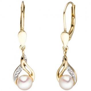 Boutons 585 Gelbgold 2 Süßwasser Perlen 2 Diamanten Ohrringe - Vorschau