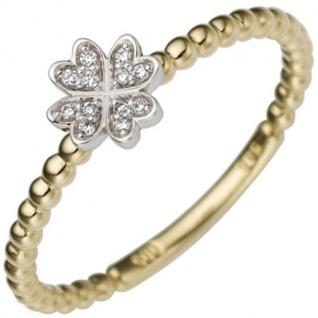Damen Ring Kleeblatt 585 Gelbgold Weißgold2 Diamanten