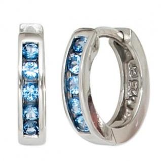 Creolen rund 925 Sterling Silber rhodiniert 10 Zirkonia blau Ohrringe