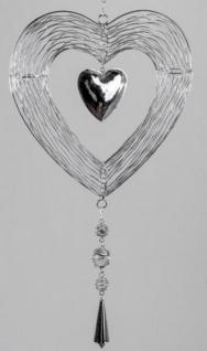 Hängedeko Herz aus Metall und Glas, silber, 25 cm