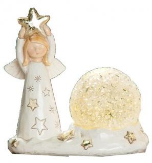 GILDE Deko Schutzengel mit Stern und LED Kugel, beige gold, 10 cm