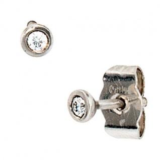 Ohrstecker rund 950 Platin mattiert 2 Diamanten Brillanten 0, 05 ct.