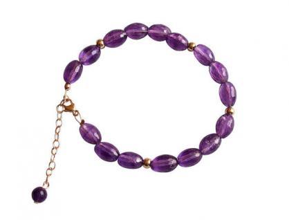 Damen Armband Vergoldet Amethyst Facettiert Violett Lila 18 cm