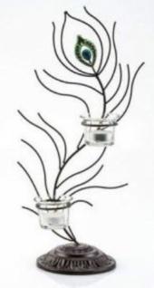 Teelichthalter Passion, Metall und Glas, Schwarz, zweiflammig, 42, 5 cm