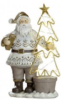 LED Weihnachtsmann Beige Braun 23 cm Nikolaus mit Tannenbaum