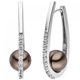 Creolen 925 Sterling Silber 2 Perlen braun 20 Zirkonia Ohrringe