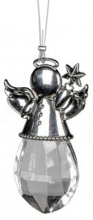 Fensterdeko Fensterhänger Engel mit Stern Weihnachtsengel zum hängen klar mit Metall-Elementen 6 cm gross