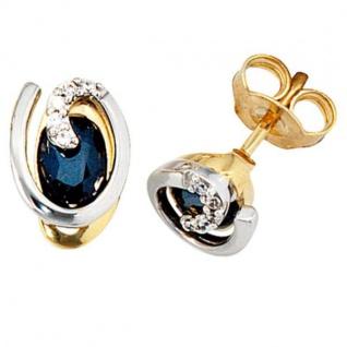 Ohrstecker 585 Gold Gelbgold Weißgold 10 Diamanten 2 Safire blau