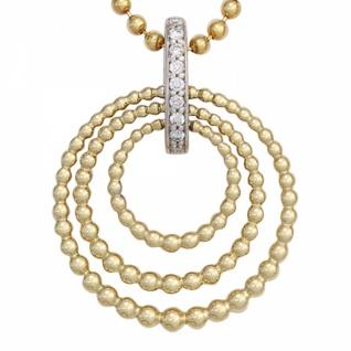 Anhänger 585 Gelbgold Weißgold kombiniert 9 Diamanten 0, 045ct.
