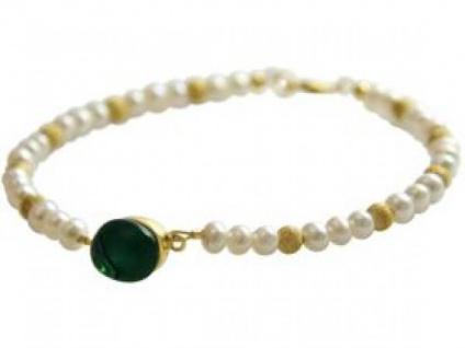 Gemshine Damen Armband Perlen Vergoldet Quarz Grün 18 cm