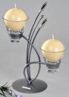 Teelichthalter Vivaldi Metall und Glas in Silber, zweiflammig, 31 cm