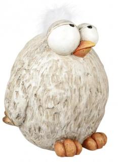 Deko Vogel Deko Huhn mit Kunst-Federn natur beige stehend 12 x 15 cm
