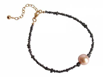 Gemshine Damen Armband Diamant Schwarz Perle Lachs Rose