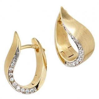 Creolen 585 Gelbgold bicolor teilmatt 18 Diamanten Brillanten Ohrringe