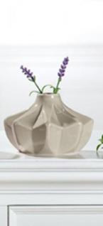 GILDE trendig moderne Keramikvase grau glasiert, 15 x 15 x 9 cm