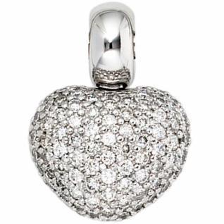 Anhänger Herz 585 Gold Weißgold 107 Diamanten Brillanten Herz Anhänger