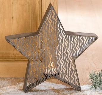 GILDE Kerzenleuchter Stern aus Metall in Antik Gold, 9 x 42, 5 x 40 cm