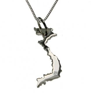 VIETNAM Anhänger 925 Silber mit Brillant am Wunschort mit Halskette