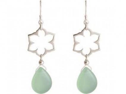 Ohrhänger 925 Silber Lotus Blume Mandala Chalcedon Tropfen Grün 4, 5 cm