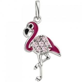Kinder Anhänger Flamingo rosa pink 925 Sterling Silber 7 Zirkonia