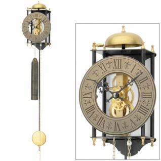 AMS 301 Wanduhr mit Pendel mechanisch golden schwarz Metall Skelettuhr