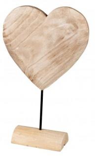 Herz auf Sockel zum stellen natur braun rustikal 36 cm groß