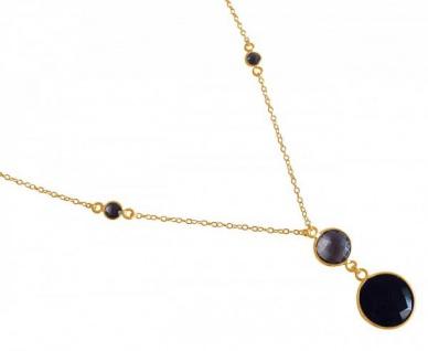 Halskette Anhänger Silber Vergoldet Onyx Rauchquarz Schwarz Braun