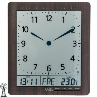 AMS 5893 Wanduhr Tischuhr Funk digital schwarz Datum Thermometer