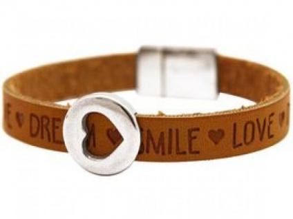 Damen Armband Herz Liebe WISHES Braun Magnetverschluss Silberfarben