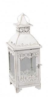Deko-Laterne aus Metall Lampe Stahllaterne Vintage Antik orientalisches Windlicht italienische Gartenlaterne Kerzenhalter weiß 20x20x54cm