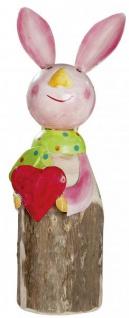 Deko Hase mit rotem Herz aus Holzstamm mit Metall bunt stehend 29 cm