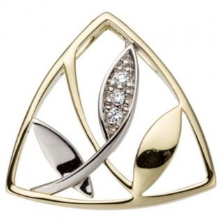 Anhänger 585 Gelbgold Weißgold bicolor 3 Diamanten Brillanten 0, 03ct.