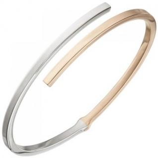 Armreif Armband oval 925 Sterling Silber bicolor Rotgold vergoldet