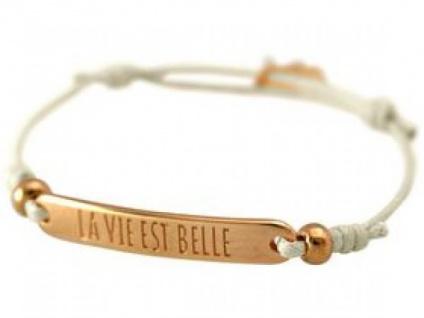 Damen Armband Gravur LA VIE EST BELLE Rose Vergoldet Nude