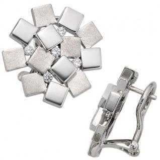 Ohrstecker 925 Sterling Silber rhodiniert mattiert 10 Zirkonia
