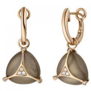 Creolen 585 Rotgold 2 Mondstein Cabochons 12 Diamanten Brillanten