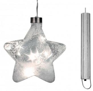 LED-Glas-Stern mit Timerfunktion klar Schneedekor 15 cm Ø Weihnachten