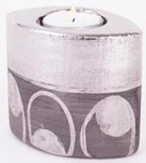 Teelichthalter aus Keramik in antiken Silberfarben, 8 cm