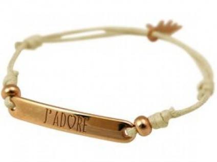 Gemshine Damen Armband Gravur J?Â?´ADORE Rose Vergoldet Nude