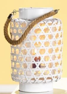 Weiden Laterne mit Seilgriff und Glaseinsatz in Weiß, 31 x 20 cm